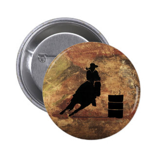 Barrel Racing Girl Silhouette on a Grunge Texture 6 Cm Round Badge