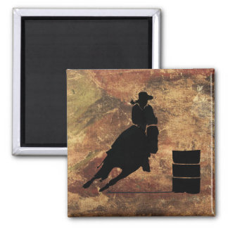 Barrel Racing Girl Silhouette on a Grunge Texture Refrigerator Magnets