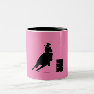 Barrel Racing Girl Silhouette on Pink Backdrop Two-Tone Coffee Mug