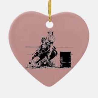 Barrel Racing Horse Ceramic Heart Decoration