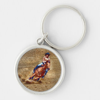 Barrel-Racing Rodeo Cowgirl Designer #Gift Silver-Colored Round Key Ring