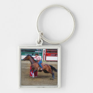 Barrel-Racing Rodeo Cowgirl Designer #Gift Silver-Colored Square Key Ring