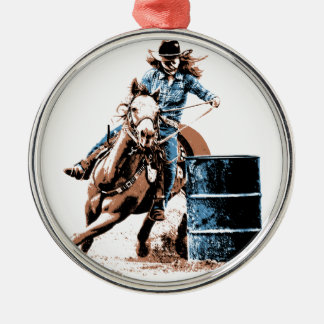Barrel Racing Silver-Colored Round Decoration