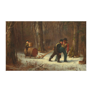 Barrel Sled in a Snowy Forest by E. Johnson Canvas Print