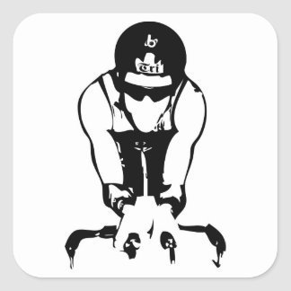 Barrel X Triathlon Biker Guy Square Sticker