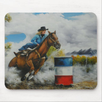 Barrell Racer Painting on Customizable Products Mouse Pad