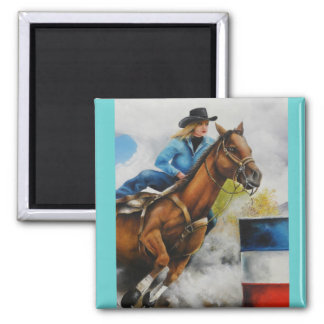 Barrell Racer Painting on Customizable Products Square Magnet