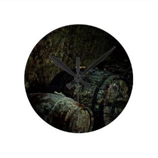 Barrels dark painterly round wall clocks