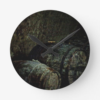 Barrels dark painterly wall clock