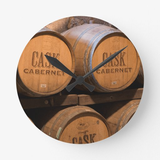 Barrels In The Cellar Round Clock