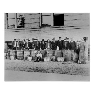 Barrels of Bootleg Liquor, 1922. Vintage Photo Poster