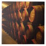 Barrels of Tokaj wine stacked in the Disznoko Large Square Tile