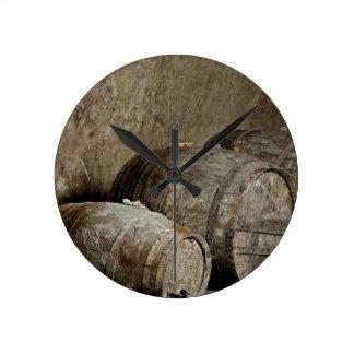 Barrels resting round wallclocks
