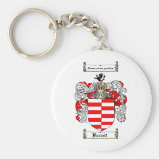 BARRETT FAMILY CREST -  BARRETT COAT OF ARMS BASIC ROUND BUTTON KEY RING