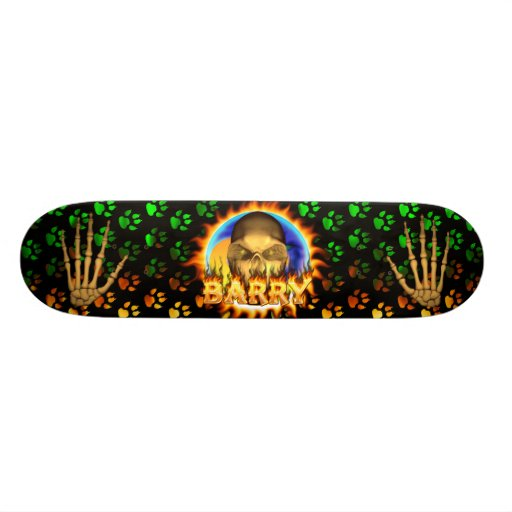 Barry skull real fire and flames skateboard design