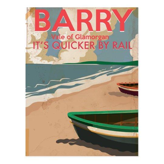 Barry, Wales Vintage locomotive Travel Poster Postcard