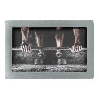 Bars and Chalk - Weightlifting Print Rectangular Belt Buckle