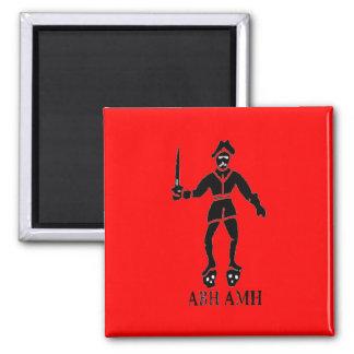 Bart Roberts #1-Black Square Magnet