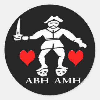 Bart Roberts #1 -Hearts Round Sticker