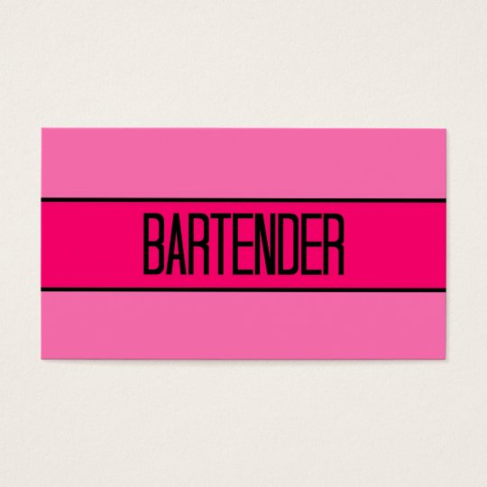 Bartender Baby and Hot Pink Business Card
