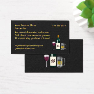 Bartender Black Business Card