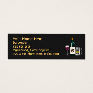 Bartender Black Mini Business Card