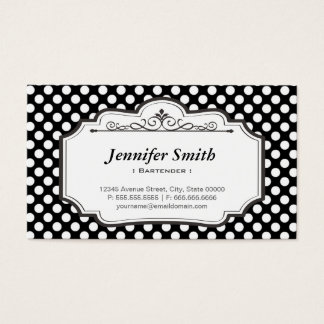Bartender - Black Polka Dots Business Card