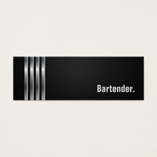 Bartender - Black Silver Stripes Mini Business Card