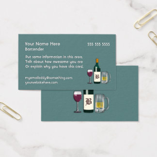 Bartender Blue Business Card