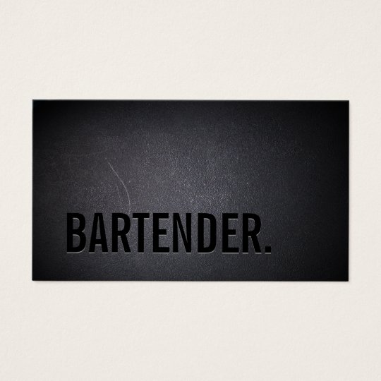 Bartender Bold Text Elegant Dark Minimalist Business Card