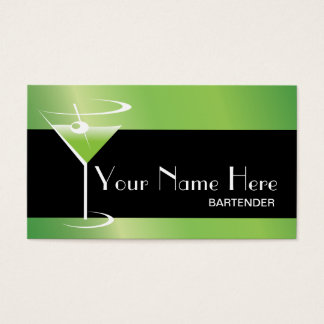 Bartender Business Card Martini Logo