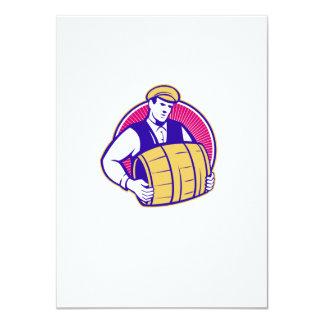 Bartender Carrying Beer Keg Retro 11 Cm X 16 Cm Invitation Card