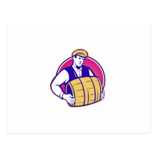 Bartender Carrying Beer Keg Retro Postcards