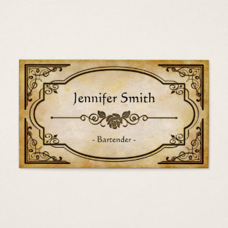 Bartender - Elegant Vintage Antique Business Card