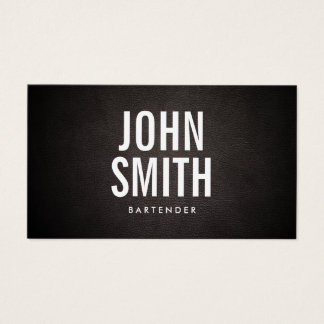 Bartender Modern Bold Text Classy Leather Business Card