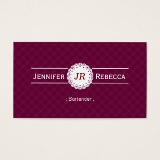 Bartender - Modern Monogram Purple Business Card