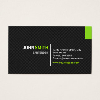 Bartender - Modern Twill Grid Business Card