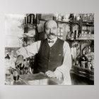 Bartender Pouring Drink, 1910. Vintage Photo Poster