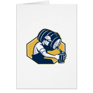 Bartender Pouring Keg Barrel Beer Retro Greeting Card