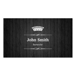 Bartender Royal Black Wood Grain Business Card Template