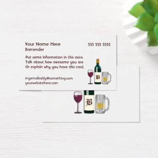 Bartender White Business Card