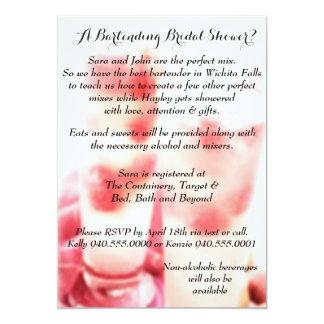 "Bartending Bridal Shower Invitation 5"" X 7"" Invitation Card"
