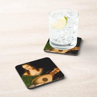 Bartolomeo Veneto Lady Playing Lute Portrait Art Drink Coasters