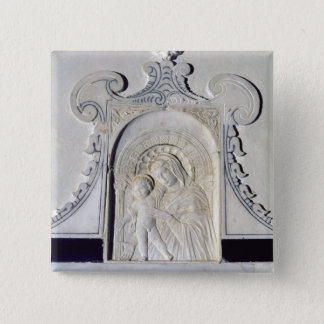 Bas-relief of a Madonna and Child (marble) 15 Cm Square Badge