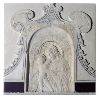 Bas-relief of a Madonna and Child (marble) Tile