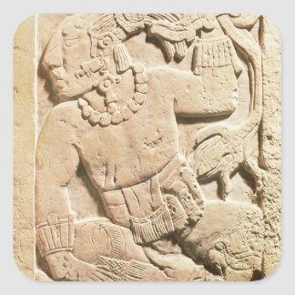Bas relief of a warrior square sticker