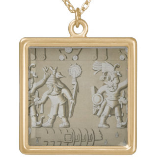 Bas Relief of Ancient Aztec Warriors, from The Sto Gold Plated Necklace