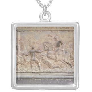 Bas relief panel silver plated necklace