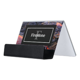 Monogram business card holders zazzle basalt lava flow with name and monogram desk business card holder reheart Images