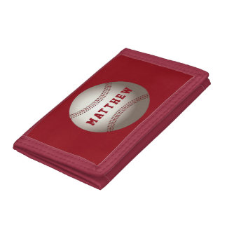 Basball Red Personalized Name Sports Tri-fold Wallets